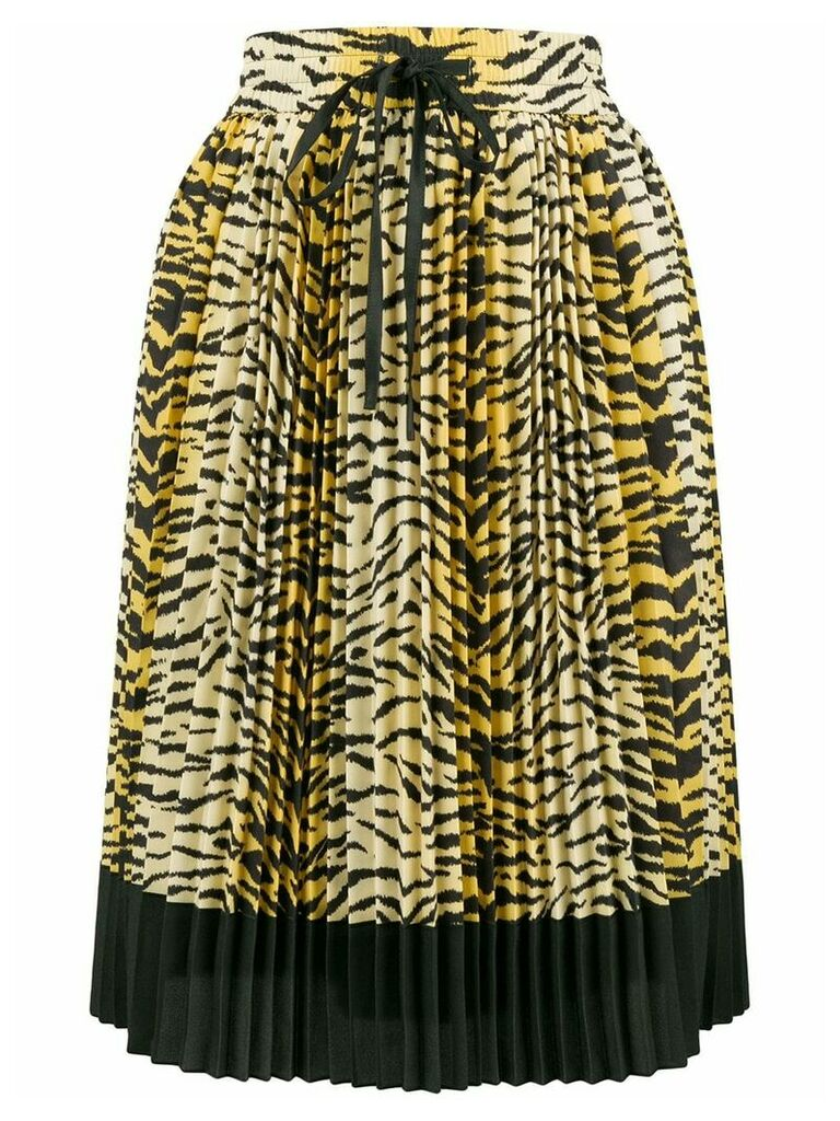 Red Valentino pleated leopard skirt - Yellow
