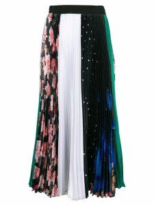MSGM print mix pleated skirt - Black