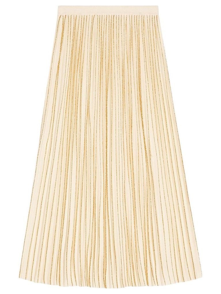 Gucci Pleated mid-length wool skirt - Neutrals
