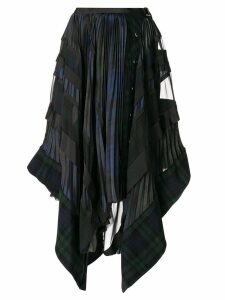 Sacai pleated checked asymmetric skirt - Blue