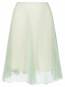 Prada Green Silk Pleated Skirt