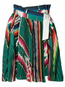 Sacai striped pleated skirt - Green