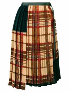 Sacai pleated tartan skirt - Neutrals