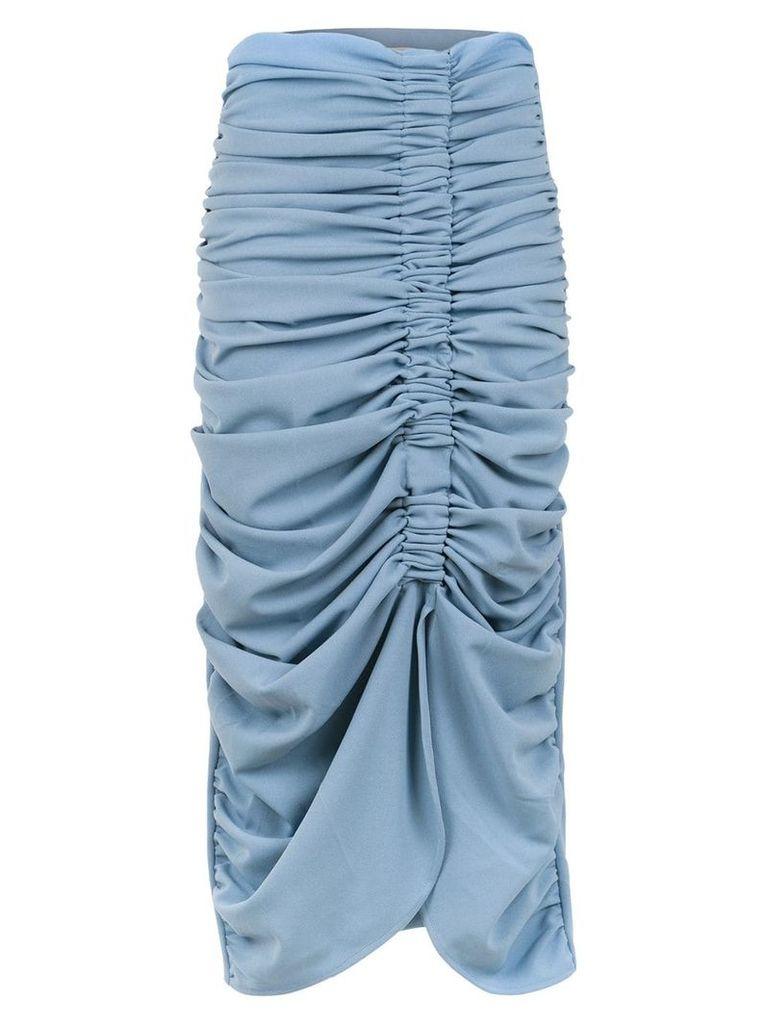 Framed midi pleated skirt - Blue