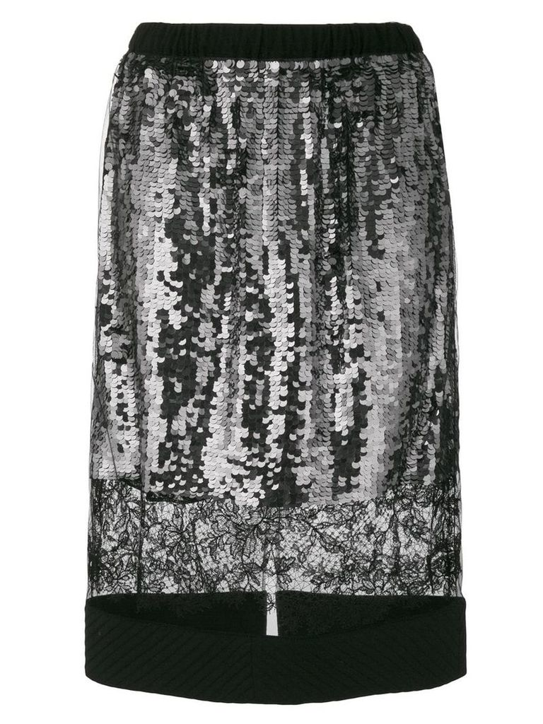 Vera Wang lace panel sequin skirt - Black