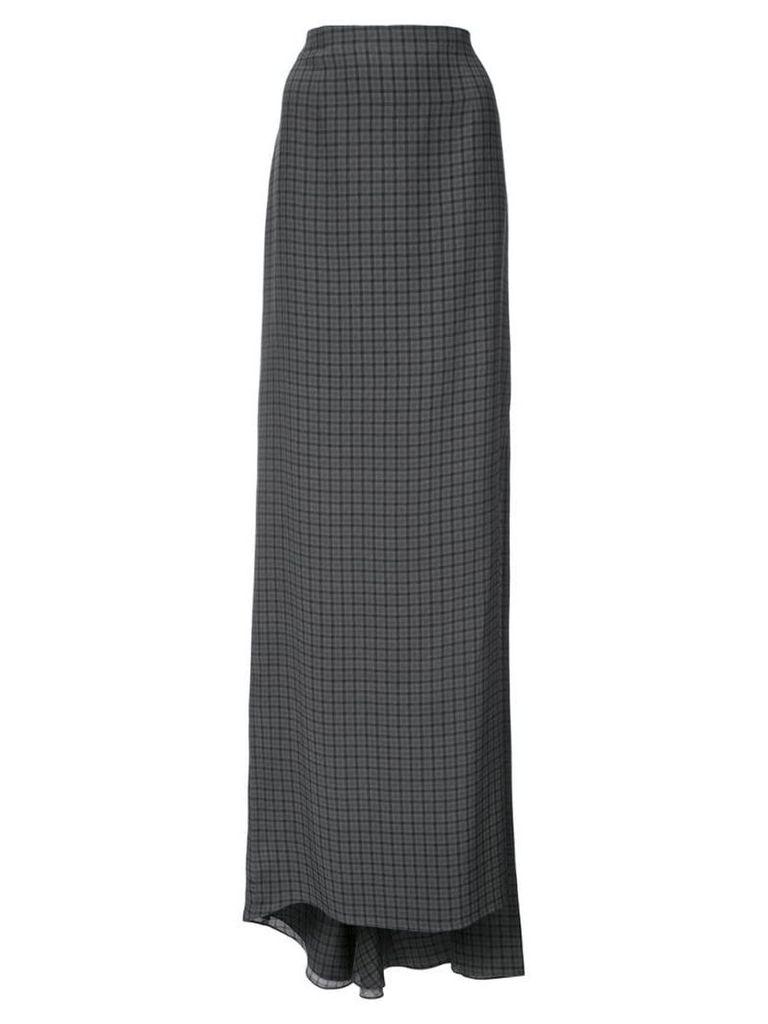 Vera Wang side slit checked maxi skirt - Grey