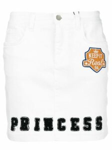 Dolce & Gabbana Princess patch letterman skirt - White