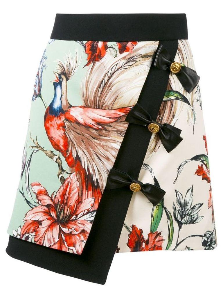 Fausto Puglisi bird print wrap skirt - Green