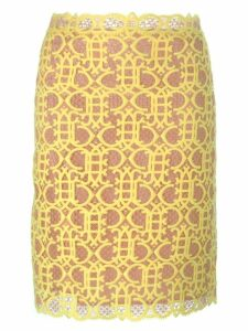 Emilio Pucci straight cut macramé skirt - Yellow