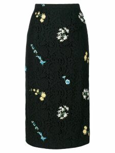 Nº21 floral embroidery lace skirt - Black