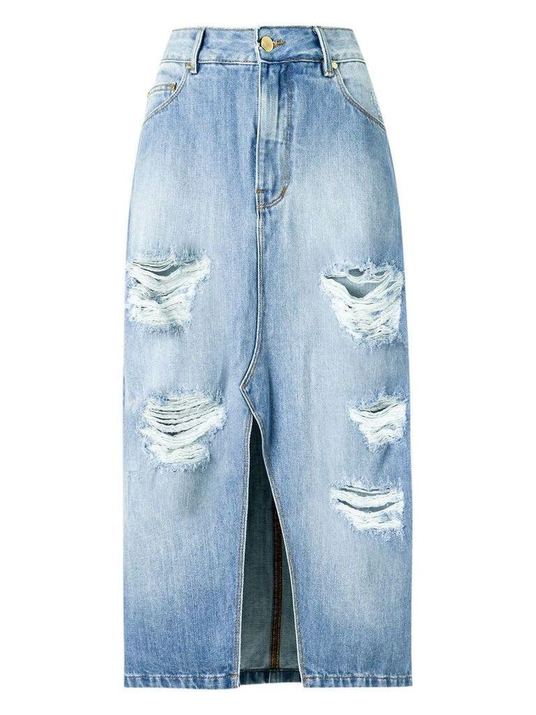 Amapô distressed midi denim skirt - Blue