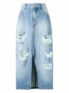 Amapô distressed midi denim skirt - Blue