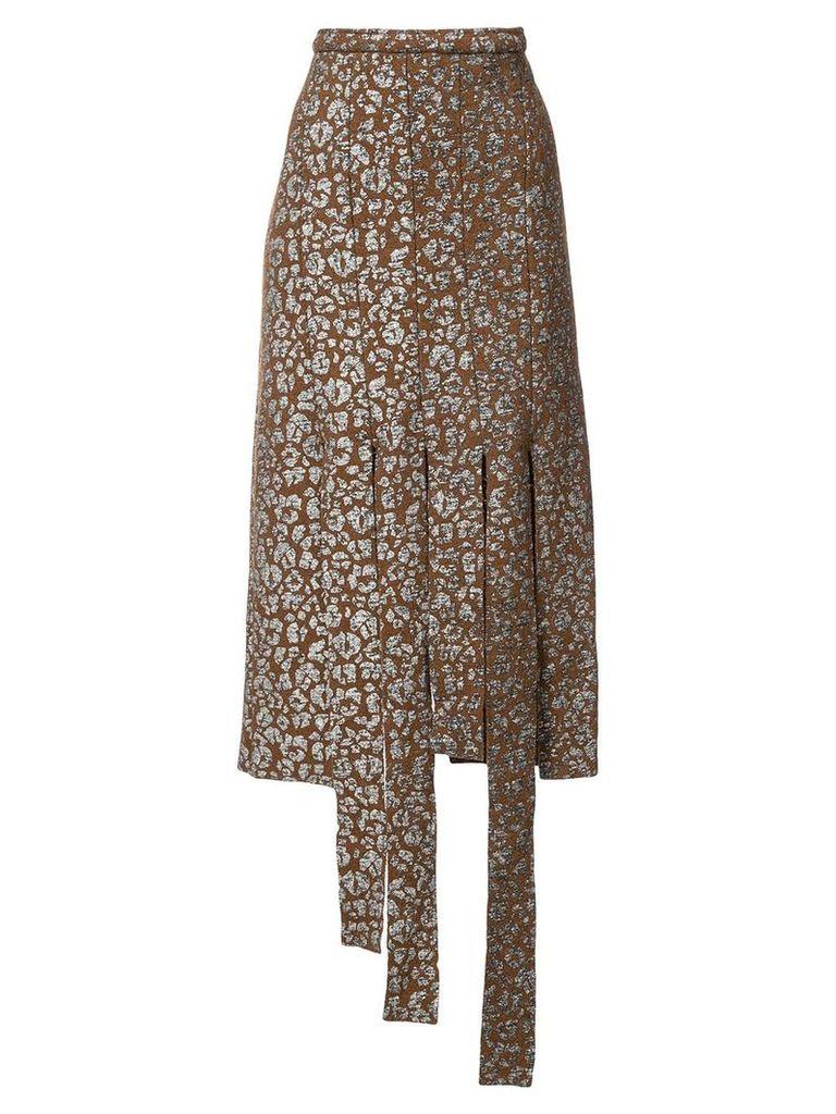 Barbara Bologna leopard print cut strip skirt - Brown
