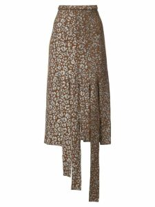 Barbara Bologna leopard print cut strip skirt - Brown