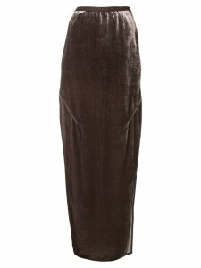 Rick Owens long velvet skirt - Brown