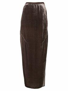 Rick Owens long velvet skirt - Brown