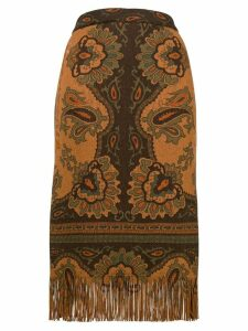 Etro fringed printed skirt - Brown