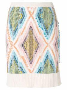 Barrie diamond ribbed skirt - White