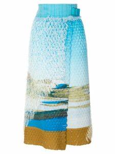 Issey Miyake printed wrap skirt - Blue