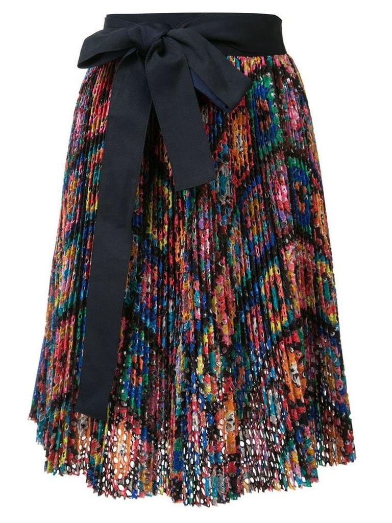 Sacai ribbon-tie skirt - Multicolour