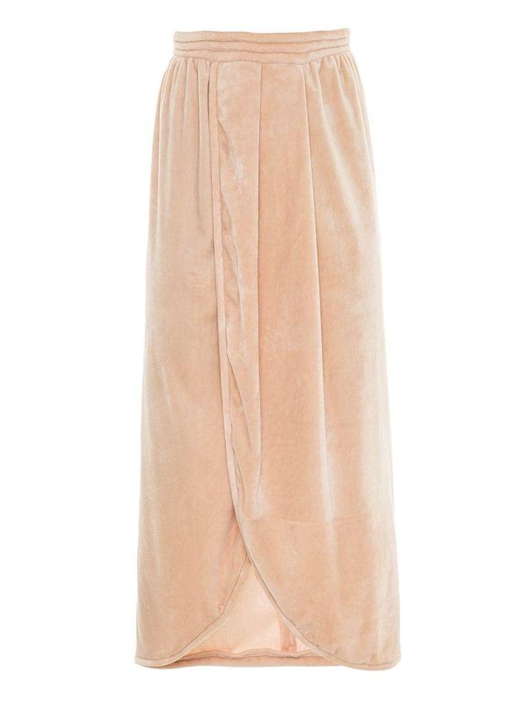 Framed velvet Tube midi skirt - Neutrals