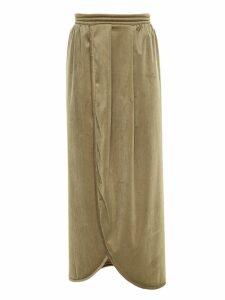 Framed velvet Tube midi skirt - Green