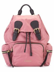 Burberry The Medium Rucksack in Technical Nylon and Leather - Pink