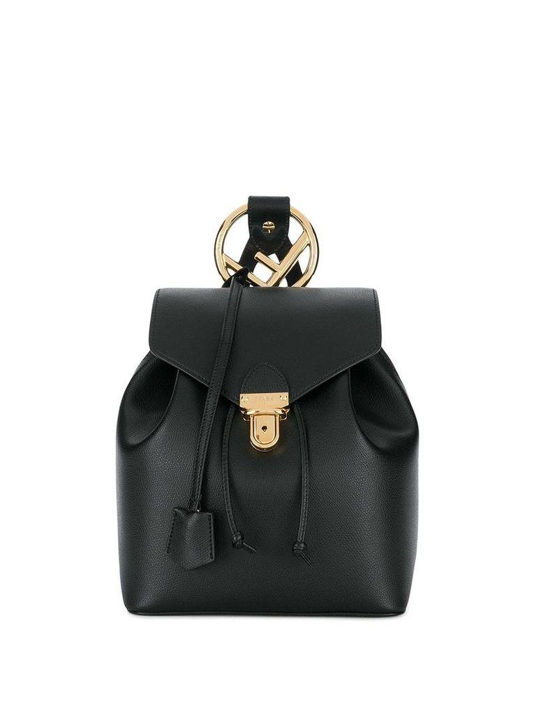 Fendi calf leather classic logo backpack - Black