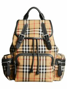 Burberry The Medium Rucksack in Vintage Check Cotton Canvas - Yellow