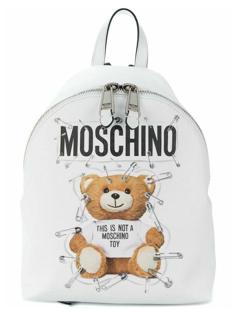 Moschino Teddy logo backpack - White