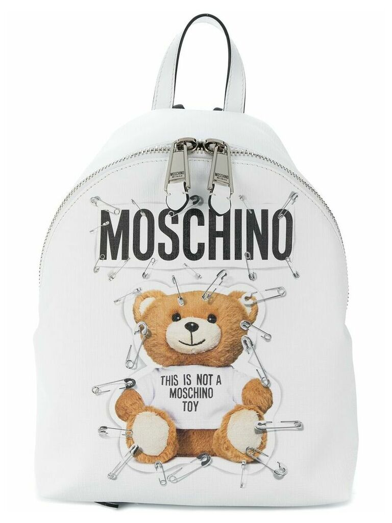 Moschino Teddy logo backpack - White