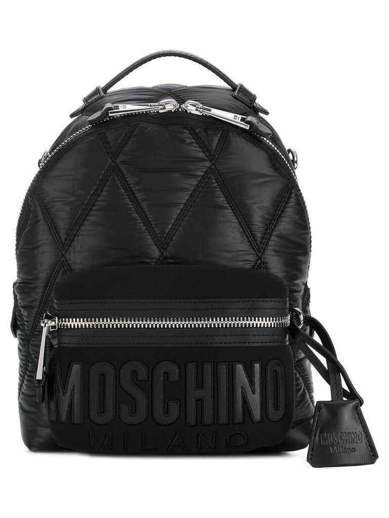 Moschino front logo mini backpack - Black