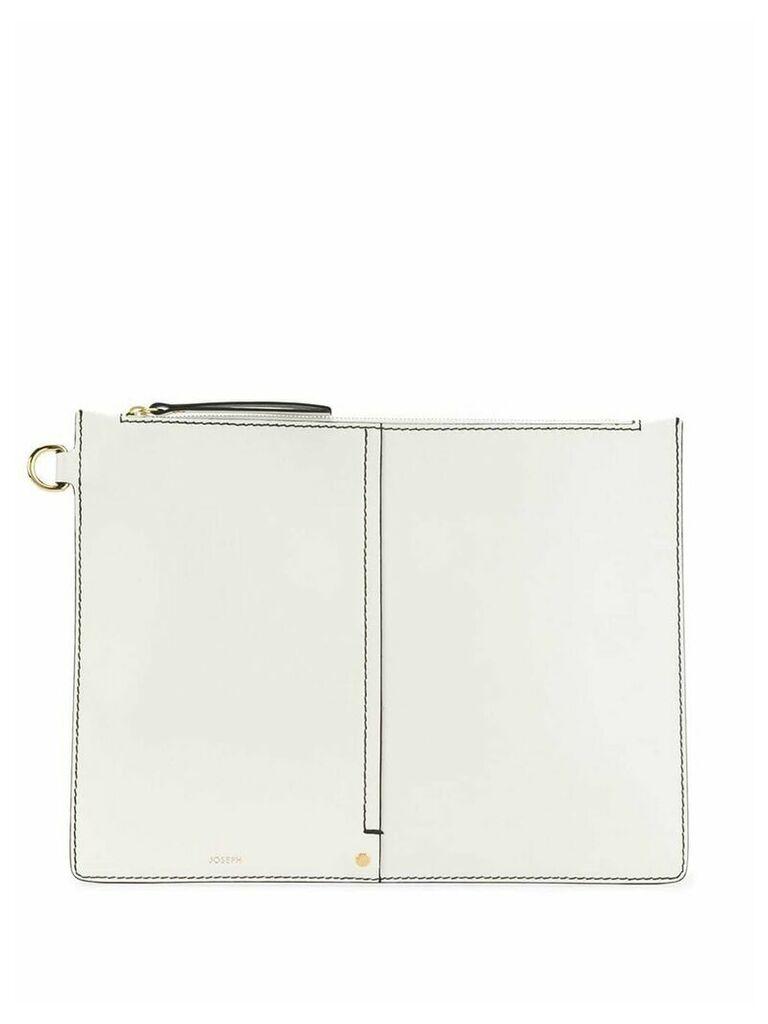 Joseph XL zip pouch bag - White