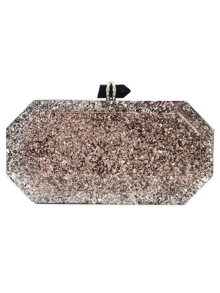 Marchesa marbeled box clutch bag - Pink