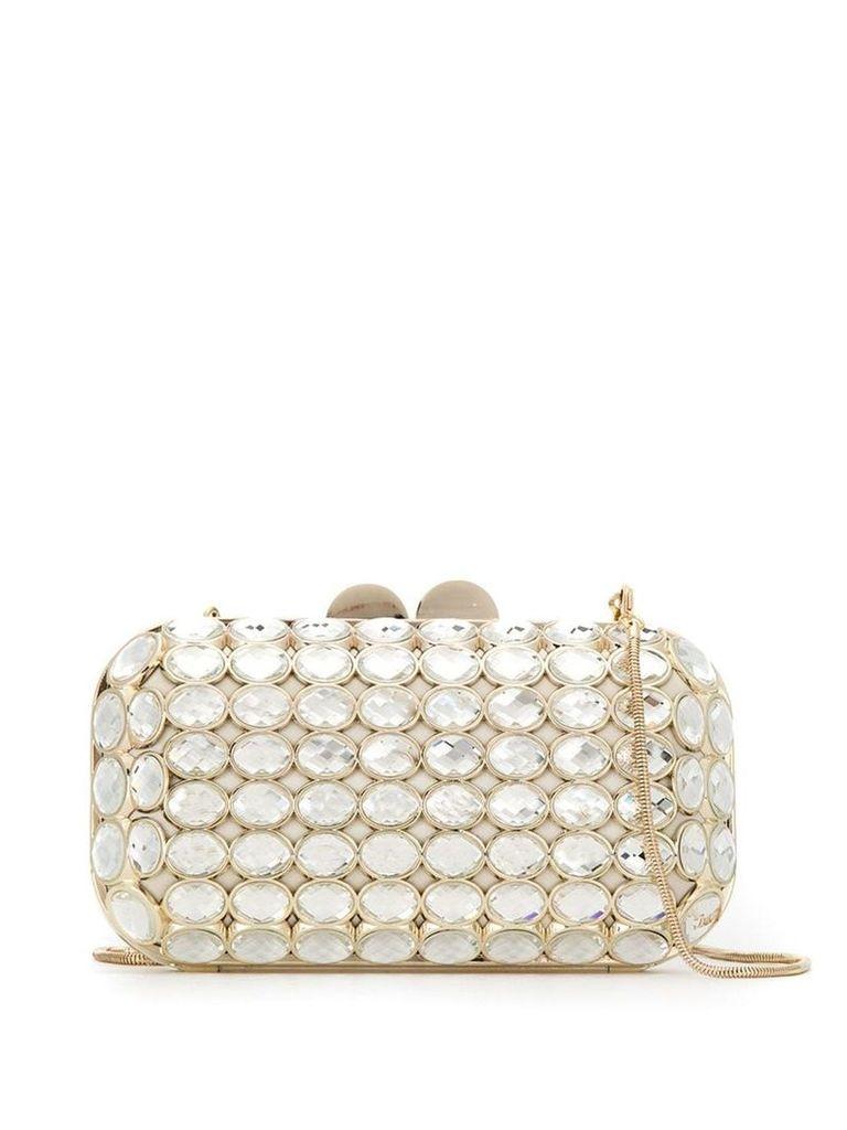 Isla Maxi Crystal clutch bag - White