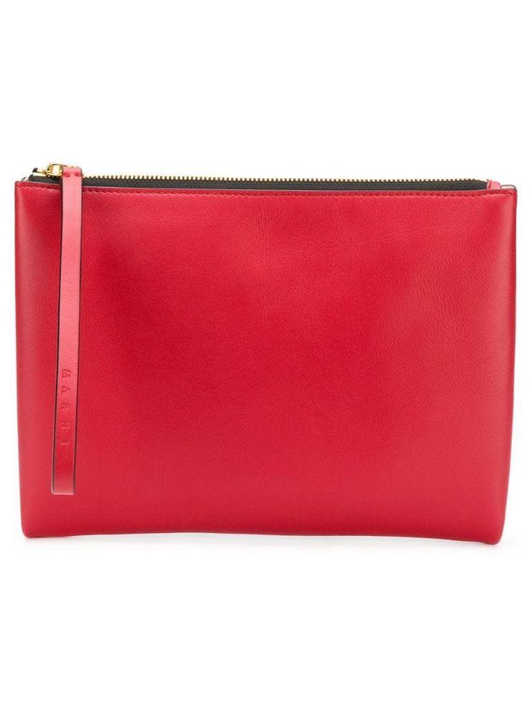 Marni colour block zipped clutch - Red