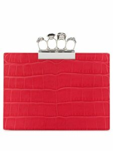 Alexander McQueen jewelled four-ring clutch - Red