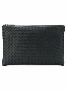 Bottega Veneta woven zipped clutch - Black