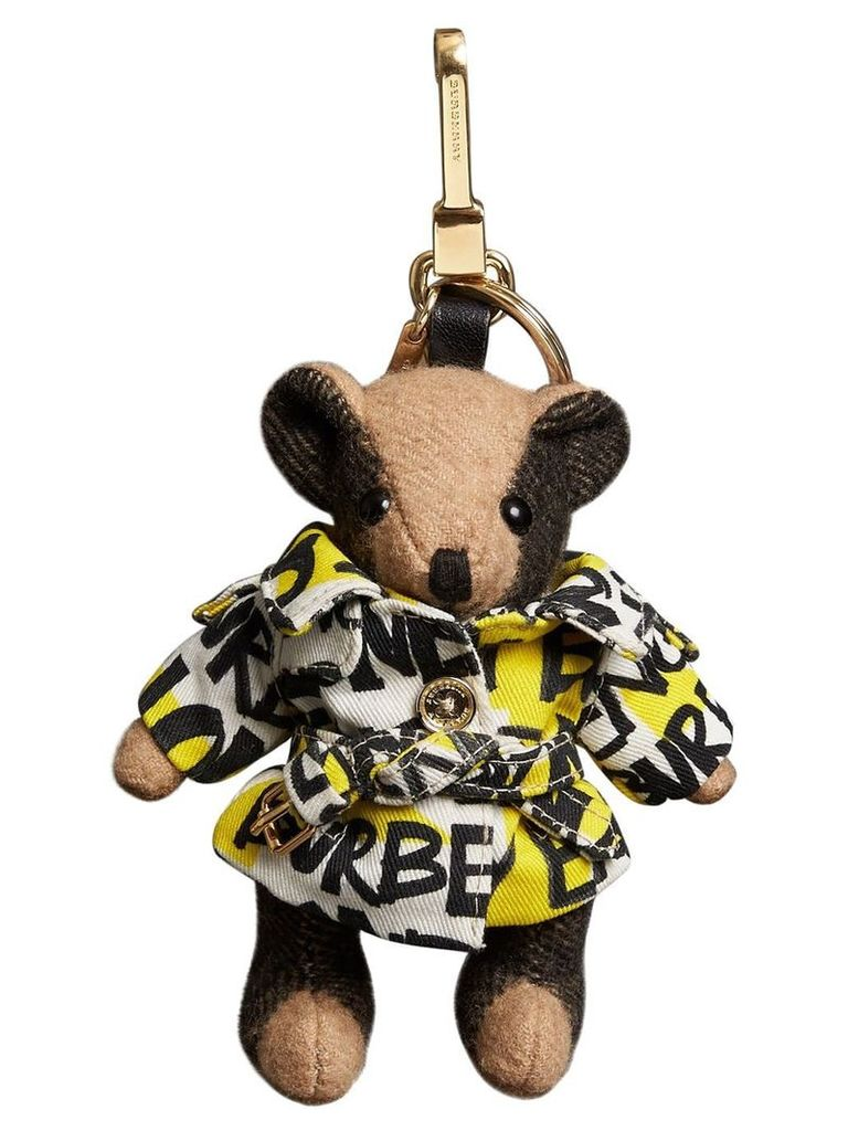 Burberry Thomas Bear Charm in Graffiti Print Trench Coat - Brown