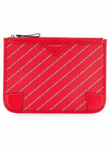 Karl Lagerfeld striped logo pouch - Red
