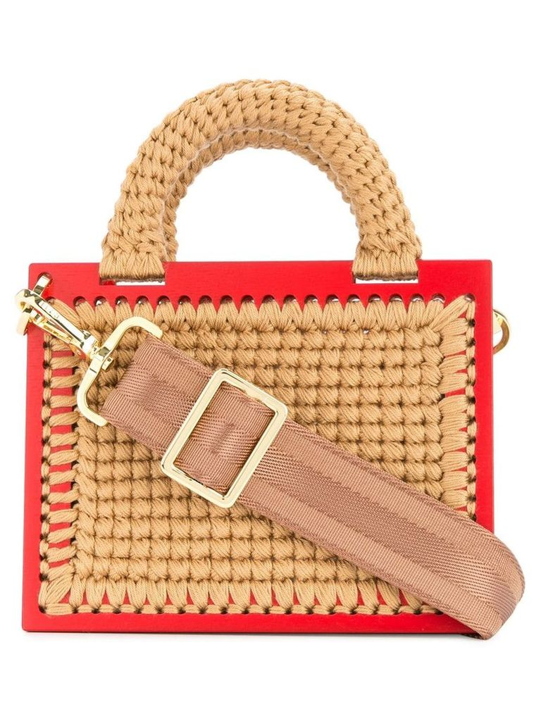 0711 St. Barts small woven handbag - Neutrals