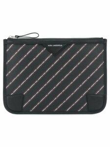 Karl Lagerfeld striped logo pouch - Black