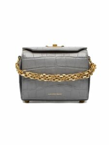 Alexander McQueen Grey Croc Embossed Mini Box Bag