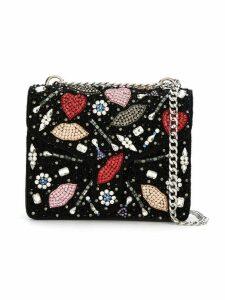 Isla embroidered shoulder bag - Black