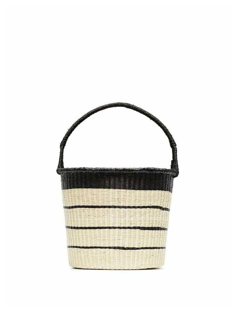 Sensi Studio Beige Striped straw bucket bag - Neutrals