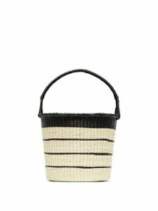Sensi Studio Beige Striped straw bucket bag - Neutrals