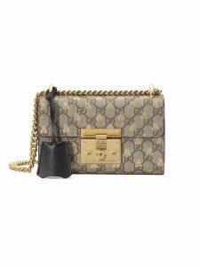 Gucci Gold GG bees padlock Small shoulder bag - Neutrals