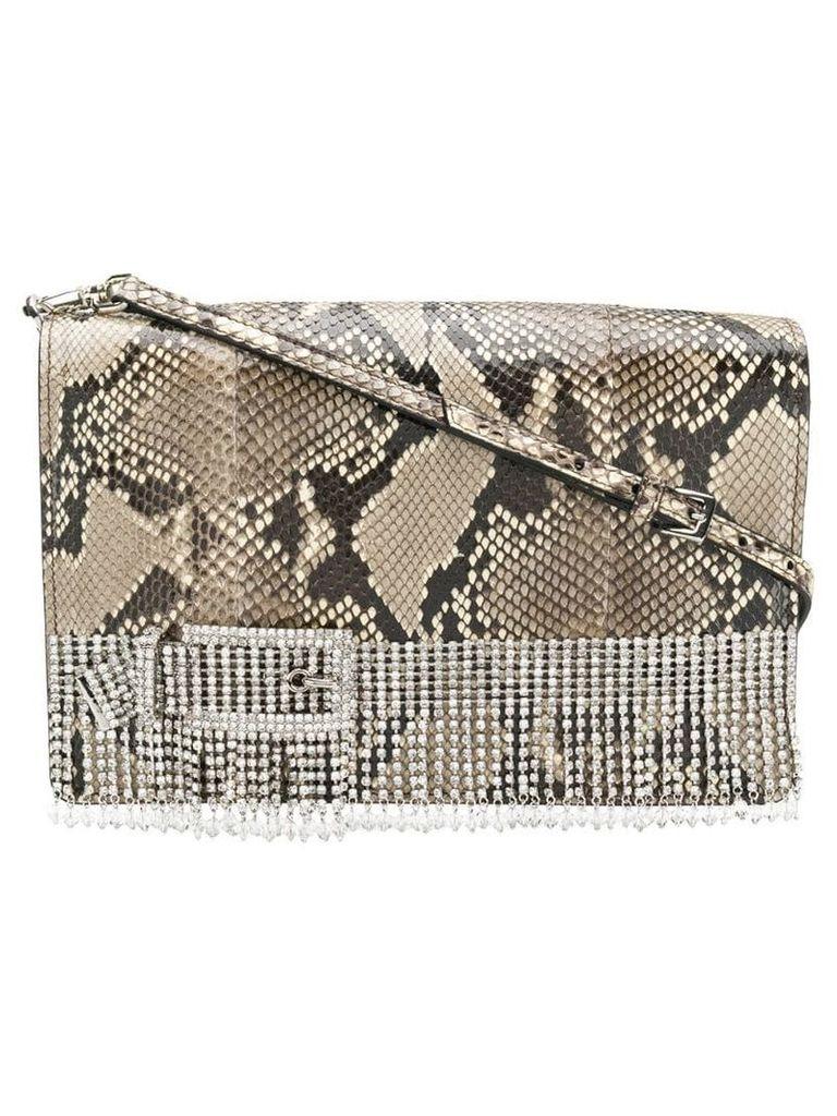 Miu Miu crystal fringed shoulder bag - Neutrals