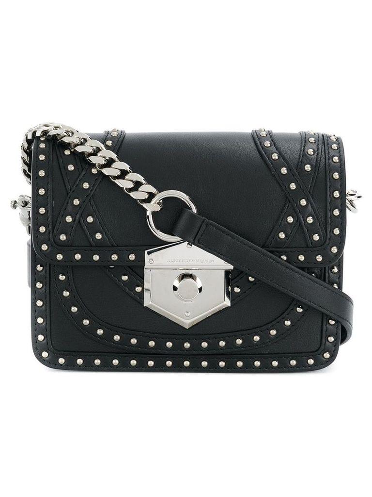 Alexander McQueen foldover studded shoulder bag - Black