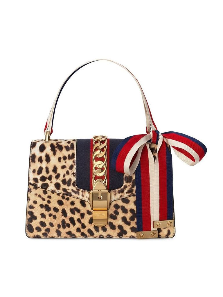 Gucci Sylvie shoulder bag with leopard print - Neutrals